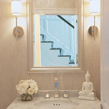 Silver Beaded Mirror, Transitional, bathroom, Susan Glick Interiors