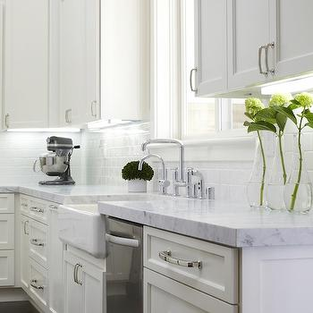 Honed Carrera Marble, Transitional, kitchen, Fautt Homes