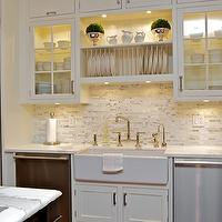 Susan Glick Interiors - kitchens - white cabinets, white kitchen cabinets, white marble countertops, linear marble backsplash, linear marble tile backsplash, built in plate rack, plate rack over sink, plate rack above sink, glass front kitchen cabinets, farmhouse sink,