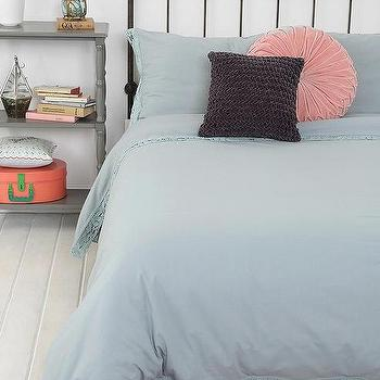Bedding - Plum & Bow Lace-Edge Duvet Cover I Urban Outfitters - lace edged duvet cover, blue duvet cover, blue laced edge duvet cover,