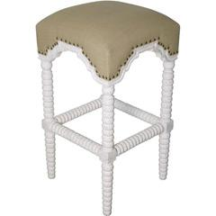 Seating - Noir Abacus Barstool White Wash Set of 2 I Layla Grayce - white washed barstool, white barstool with linen seat, white barstool with linen and nailhead trim,