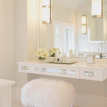 Floating Mirrored Vanity, Contemporary, bathroom, Susan Glick Interiors