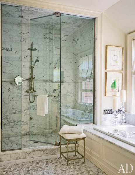 Marble shower ideas transitional bathroom for Architectural digest bathroom ideas