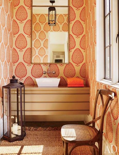 katie ridder leaf wallpaper eclectic bathroom