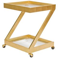 Storage Furniture - Worlds Away Lenox Gold Leaf Bar Cart I Layla Grayce - gold leaf bar cart, z-shaped gold bar cart, z-shaped gold leaf bar cart,