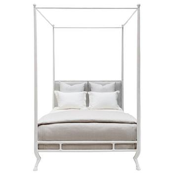 Beds/Headboards - Oly Studio Faline Bed l Layla Grayce - modern white canopy bed, white canopy bed with hoof feet, animal hoof four poster bed,