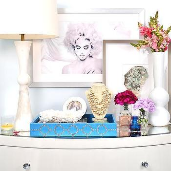 Dalliance Design - girl's rooms - marilyn monroe, madonna, girls room, white dresser, mirrored top dresser, white chest, vanity, perfume, flowers, art, modern art, colorful, blue, blue paint, bedroom, young girl, alabaster table lamp,