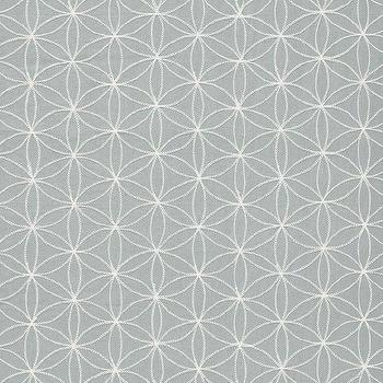 Fabrics - Kaleidoscope Moonstone Fabric by the Yard I Layla Grayce - blue and white geometric fabric, blue and white chain stitch fabric,