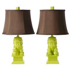 Lighting - Barbara Cosgrove Foo Dog Key Lime Mini Table Lamp Set of 2 I Layla Grayce - foo dog lamps, green foo dog lamps, green foo dog lamps with brown shades,