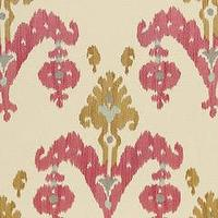 Fabrics - Martyn Lawrence Bullard Raja Embroidery Caravan Fabric by the Yard I Layla Grayce - asian ikat fabric, pink yellow and gray ikat fabric, pink and gold ikat fabric,