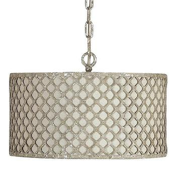 Lighting - Gabby Lighting Vera Pendant I Layla Grayce - linen pendant with metal latticework, drum shade with latticework, silver leafed drum pendant,