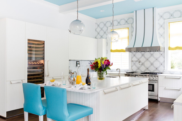 turquoise bar stools contemporary kitchen duneier design