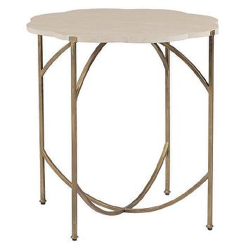 Tables - Gabby Furniture Gillian Flower Side Table I Layla Grayce - gold based limestone side table, limestone topped side table, gold leaf side table with limestone top,