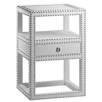 Tables - Bungalow 5 Marco One Drawer Side Table White I Layla Grayce - white nailhead side table, white lacquered side table with nailhead trim, white lacquered grasscoth side table with nailhead trim,