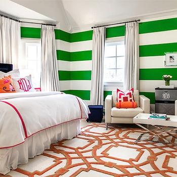 Striped Walls, Contemporary, girl's room, Underwood Interiors