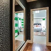 Underwood Interiors - girl's rooms - silver floor mirror, silver leaf floor mirror, beveled floor mirror, silver beveled floor mirror, beveled silver floor mirror, silver leaf beveled floor mirror, greek key wallpaper, black wallpaper, black greek key wallpaper,