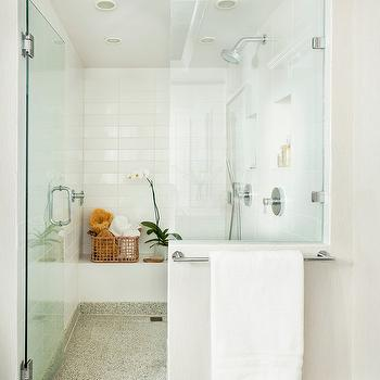 Mark Williams Design - bathrooms - zen bathroom, zen bathroom design, zen bathroom ideas, zen shower design, zen shower ideas, stacked tiles, stacked shower surround, shower niche, his and her shower niches, seamless glass shower, shower bench,