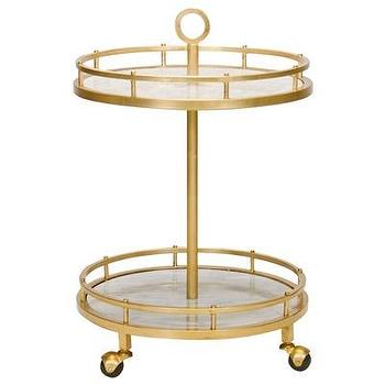 Tables - Worlds Away Emery Gold Leaf Bar Cart I Layla Grayce - gold leafed bar cart, tiered gold bar cart, gold-leaf bar cart with marble shelves,