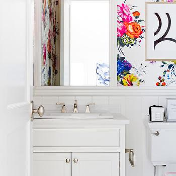Lynne Scalo Design - bathrooms - powder room wallpaper, wallpaper for powder room, chair rail, powder room wallpaper, beveled mirror, floral wallpaper, black and white abstract art, art over toilet, white washstand, paneled powder room, vertical wall panels,