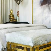 Mark Williams Design - bedrooms - curtains behind bed, drapes behind bed, linen bedding, moroccan lantern, lantern over nightstand, lighting over nightstand, black nightstand, buddha statue, gold buddha statue, bedroom bench, gold leaf bench, gold bench, cowhide bench, white cowhide bench,