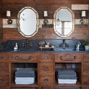 Rachel Halvorson Design - bathrooms - rustic bathroom, rustic bathroom ideas, rustic plank walls, paneled bathroom, wood plank walls, wood plank backsplash, rustic bathroom paneling, wood bathroom paneling, his and her mirrors, rustic double washstand, soapstone countertops, soapstone bathroom counters, soapstone bathroom countertops, bathroom with soapstone counters, bathroom with soapstone countertops, curved backsplash, faucets on backsplash, vintage bridge faucets, vintage wire baskets,