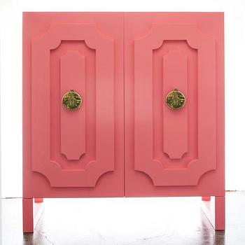 Dauphine Armoire in Coral Pink Lacquer, Vielle and Frances