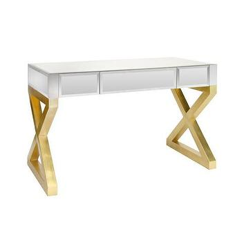 Tables - Wyndham Mirrored desk with gold leaf base | Vielle and Frances - mirrored desk with gold base, mirror fronted desk with gold leaf base, gold leafed x base desk with mirrored drawers,