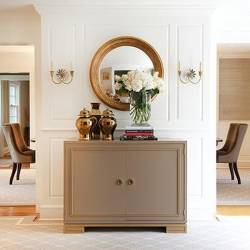 Morgan Harrison Home - entrances/foyers - gray cabinet, foyer cabinet, gray and gold cabinet, gold convex mirror, convex mirror, ginger jars, gold ginger jars, mirrored sconces, starburst sconces, mirrored starbursts sconces, trellis rug, gray trellis rug, foyer cabinet, foyer mirrors, foyer rugs,