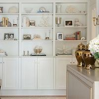 Morgan Harrison Home - entrances/foyers - built in cabinets, floor to ceiling built in cabinets, foyer built ins, foyer built in cabinets, gray cabinet, foyer cabinet, gray and gold cabinet, gold convex mirror, convex mirror, ginger jars, gold ginger jars,