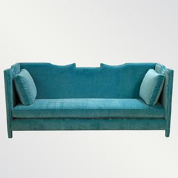 Seating - Greer Sofa | Vielle and Frances - turquoise velvet sofa, modern turquoise velvet sofa, turquoise velvet sofa with nailhead trim,
