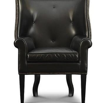 Seating - Jarras Wing Back Chair | Vielle and Frances - black leather wing chair, modern black leather wing chair, black leather wing chair with nailhead trim,