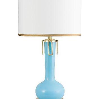 Lighting - Ross Table Lamp | Vielle and Frances - blue and antique brass table lamp, blue and brass table lamp, blue table lamp with brass base and trim,