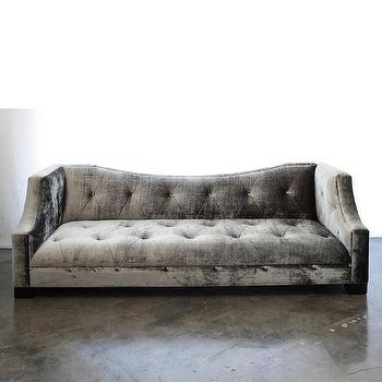 Seating - Yves Sofa | Vielle and Frances - modern gray velvet sofa, gray tufted velvet sofa, modern gray velvet sofa with nailhead trim,
