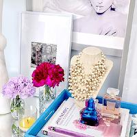 Dalliance Design - bedrooms - dalliance design, mirror, vanity, perfume, tray, madonna, marilym monroe, white, contemporary, glamour, pretty blue, neckalce, jewelry display,