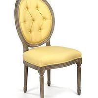 Seating - Harriet Tufted Medallion Side Chair | Vielle and Frances - yellow tufted dining chair, yellow upholstered side chair, yellow tufted back side chair,