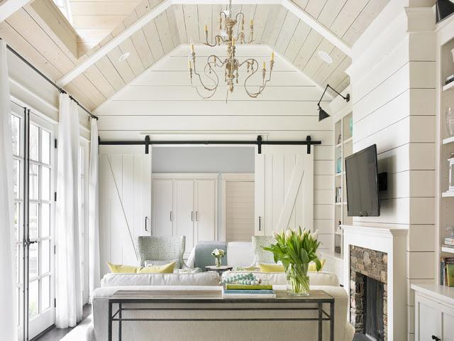 Interior Barn Doors - Cottage - living room - Tillman Long Interiors