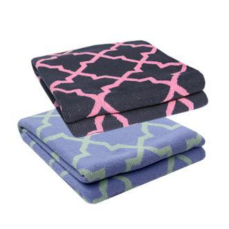 Decor/Accessories - Morocco Throw : Biscuit Home - lilac and mint colored moroccan throw, navy and pink moroccan throw, moroccan tile patterned throw,