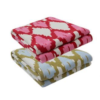 Decor/Accessories - Ikat Throw I Biscuit Home - red and pink ikat throw, green and blue ikat throw, ikat throw,