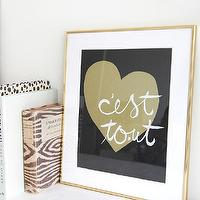 Art/Wall Decor - C'est Tout I MadeByGirl - french love art print, modern french phrase art, gold black and white french language art,