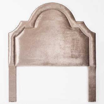 Beds/Headboards - Pewter Regency Headboard I Biscuit Home - pink velvet headboard, pink velvet upholstered headboard, hollywood regency pink velvet headboard,