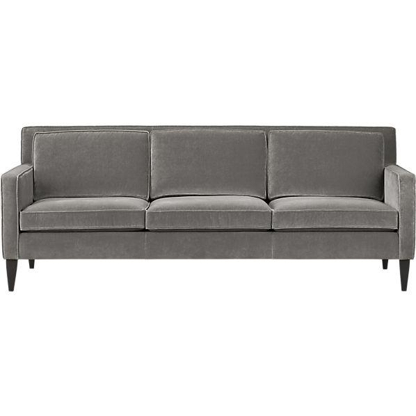 Seating - Rochelle Sofa | Crate and Barrel - gray velvet sofa, mid-century style gray velvet sofa, mid-century velvet sofa,