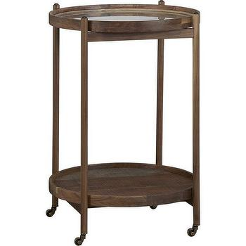 Storage Furniture - Bix Bar Cart | Crate and Barrel - round wooden bar cart, walnut bar cart, round wooden bar cart with brass casters,