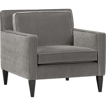 Seating - Rochelle Chair Nickel | Crate and Barrel - gray velvet armchair, mid-century gray velvet chair, mid-century velvet chair,
