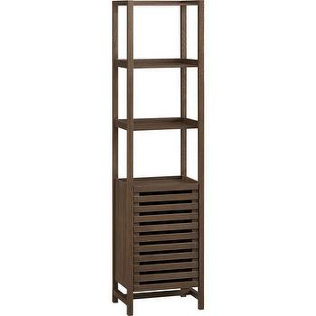 Storage Furniture - Banya Bath Tower | Crate and Barrel - wooden bath tower, wooden bathroom storage, freestanding bathroom storage,