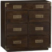 Storage Furniture - Palmer Chest | Crate and Barrel - campaign style chest, brown chest with brass hardware, brown chest with campaign style hardware,