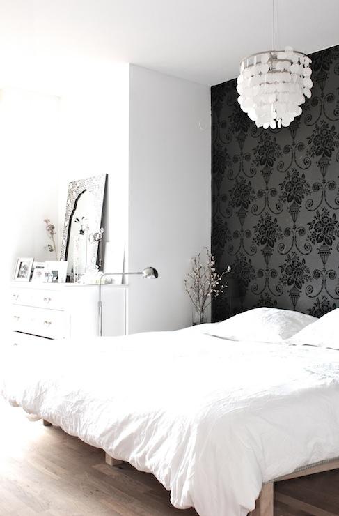 Wallpaper accent wall transitional bedroom my scandinavian home