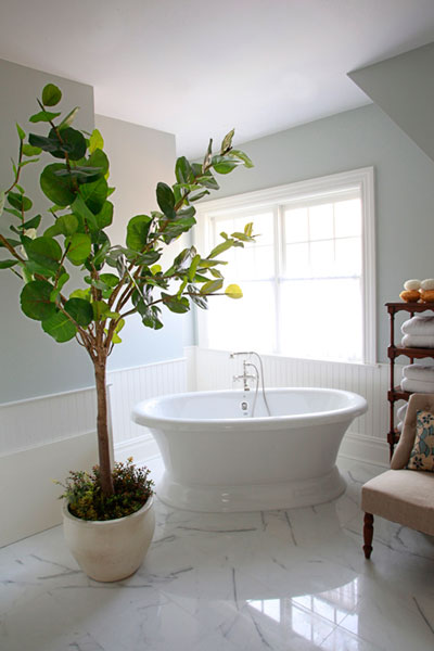 Andrew Maier - bathrooms - beadboard trim, beadboard backsplash, bathroom beadboard, bathroom beadboard backsplash, fiddle leaf fig, fiddle leaf fig plant, caddy corner tub, caddy corner bathtub, etagere, bathroom etagere, fiddle leaf fig, fiddle leaf fig plant, bathroom fiddle leaf fig, blue walls,