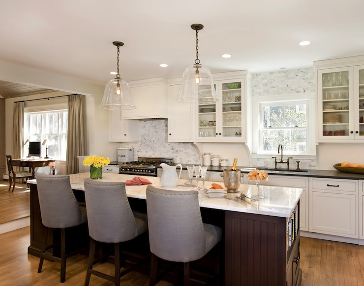 Kitchen Island With Beadoard Trim Transitional