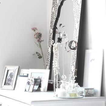 My Scandinavian Home - bedrooms - styled dresser, white dresser, bedroom dresser, black and white mirror, bone inlay mirror, bone inlaid mirror, black and white bone inlay mirror, mirrored jewelry box, fragrance tray,