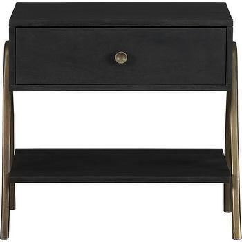 Tables - James Nightstand | Crate and Barrel - brass legged nightstand, black nightstand with brass legs, contemporary brass legged black nightstand,